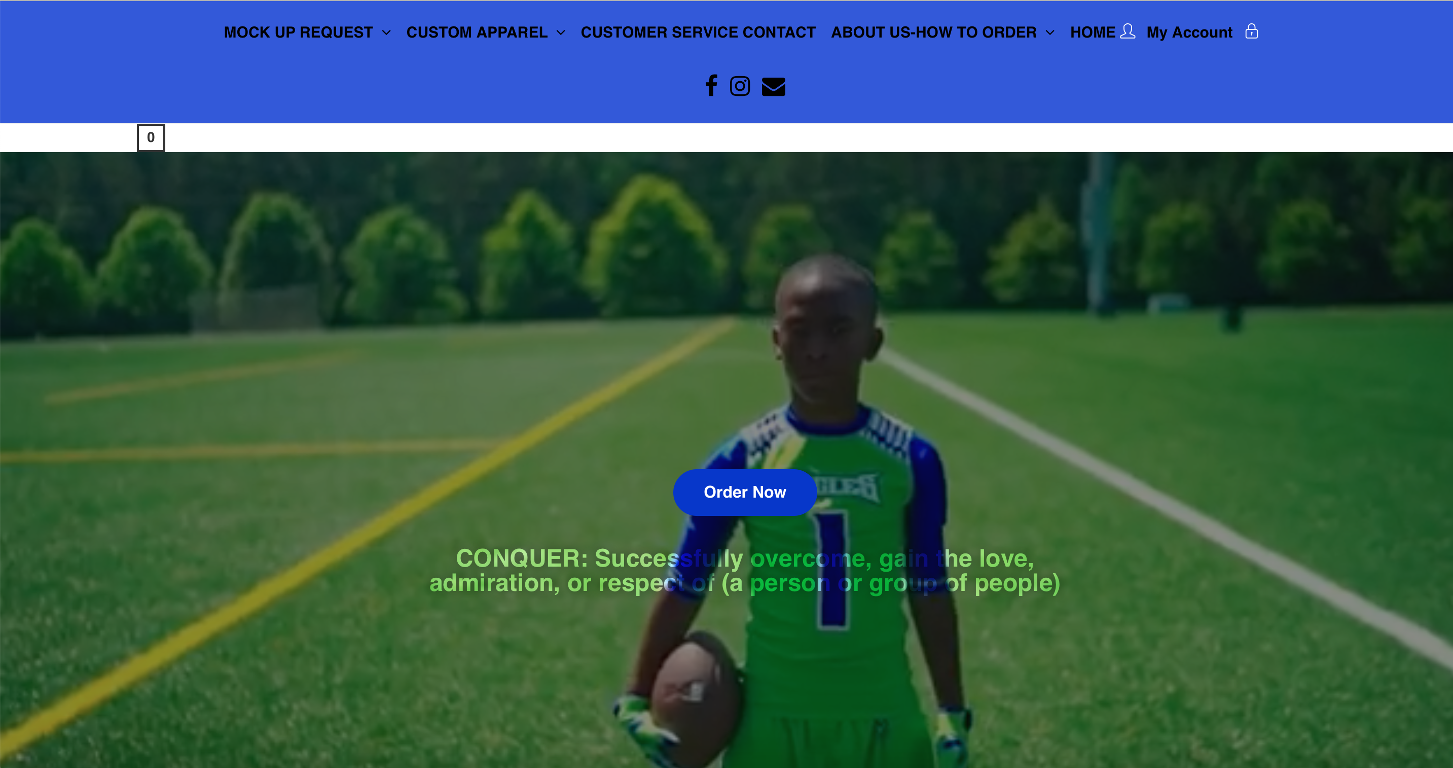 Conquer Athlete Apparel Website Homepage Snapshot