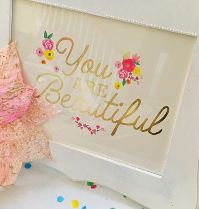 DIY White and Floral Inspirational Gift Frame