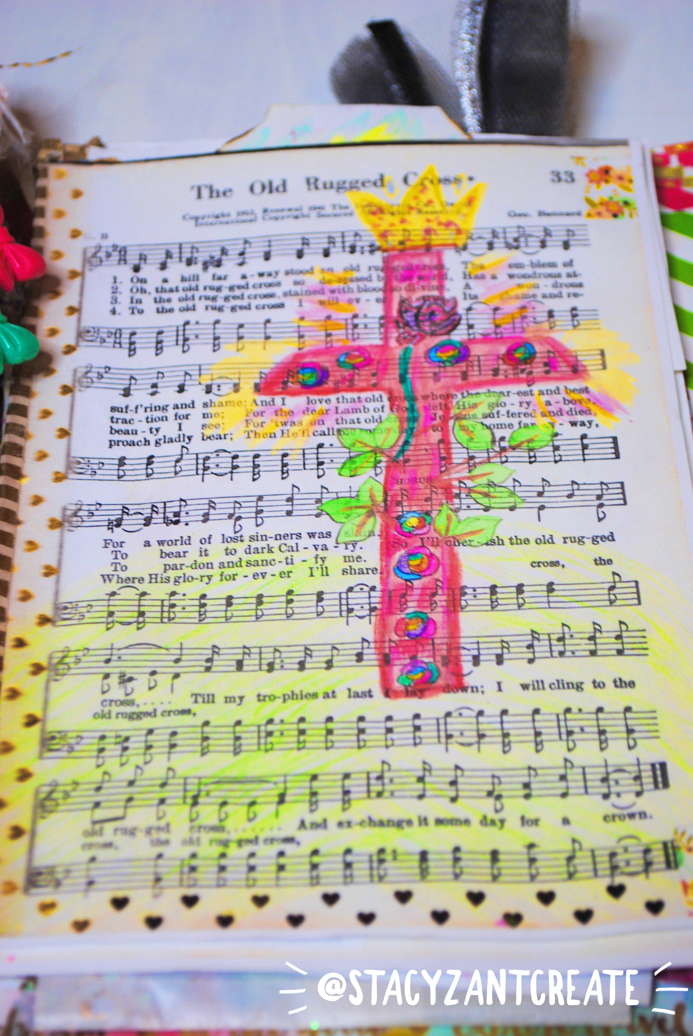 The Old Rugged Cross Hymn Journaling Art