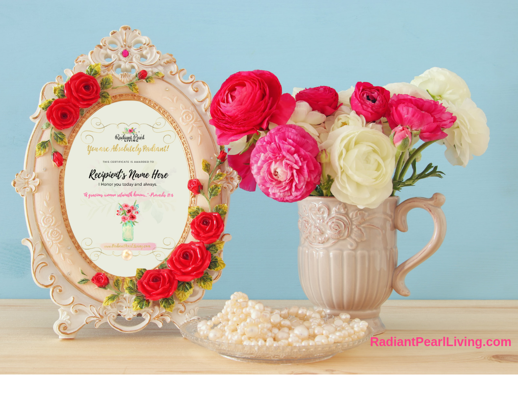 Absolutely Radiant Art Certificate in Ivory Oval Frame and bright florals