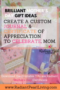 Pinterest Brilliant Mother's Day Ideas Journal and Certificate