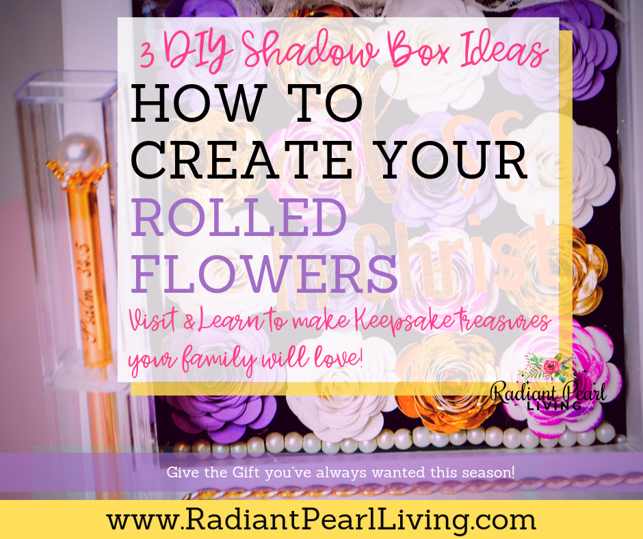 3 DIY Shadow Box Ideas to create your rolled flowers and gift to give this holiday season! Visit to download the template and print. pin to save!