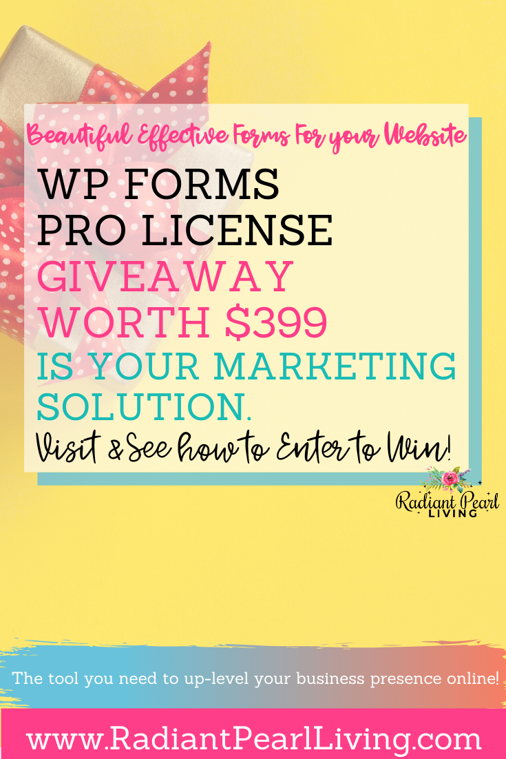 Last month I shared a little about how you can use WP forms to create beautiful signature forms for your business. Today we partnered up with WPForms to give three of our readers an opportunity to win the WPForms Pro License Subscription. The winner will be able to choose the best offer of 4 plans:  Pro ($399). You can enter the giveaway here today!