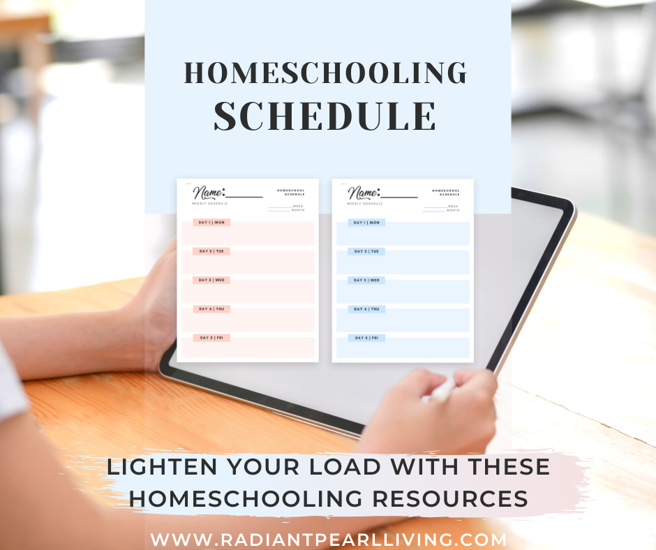 Homeschooling Schedule Courtesy of Pearls and Pillars