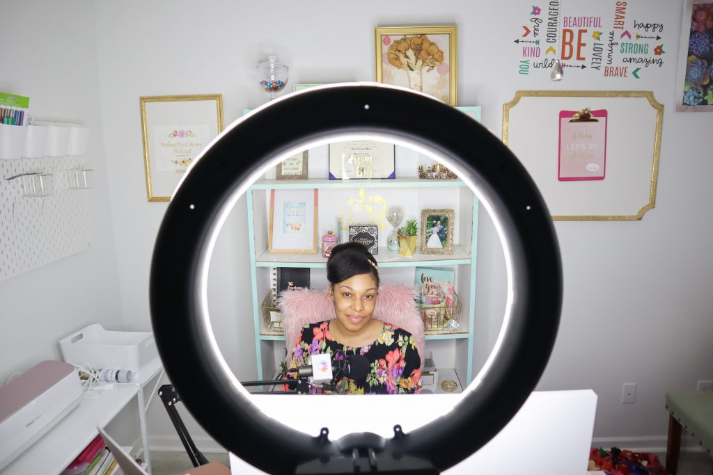 Stacy in Transformed Home Office behind Neewer light